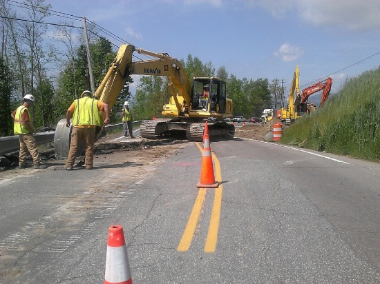 Here is a view of waterline construction across U.S. 321 near Norwood Circle in Blowing Rock. Photo:NCDOT