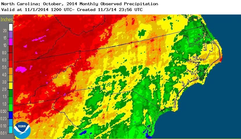 Oct monthly rainfall