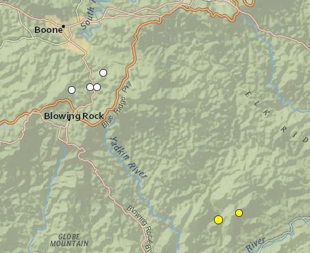 earthquakes Jan 1 2011 - Dec 16 2014 Watauga_Caldwell terrain zoom1