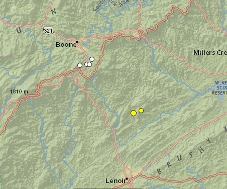 earthquakes Jan 1 2011 - Dec 16 2014 Watauga_Caldwell terrain
