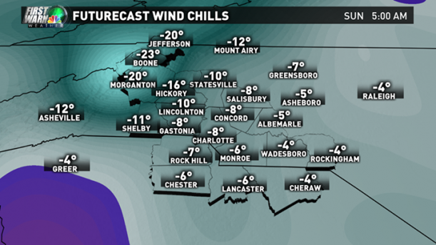 Furturecast wind chills Sunday Feb 15