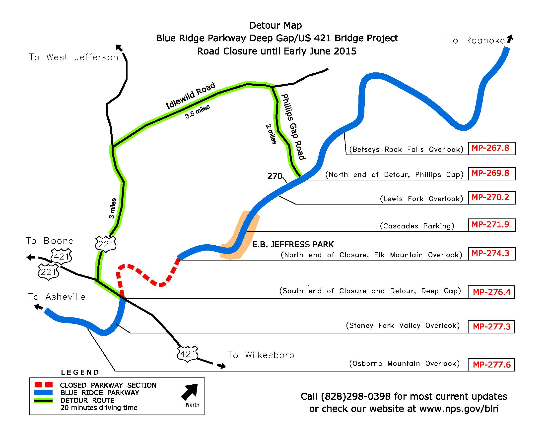 blue ridge parkway detour-map