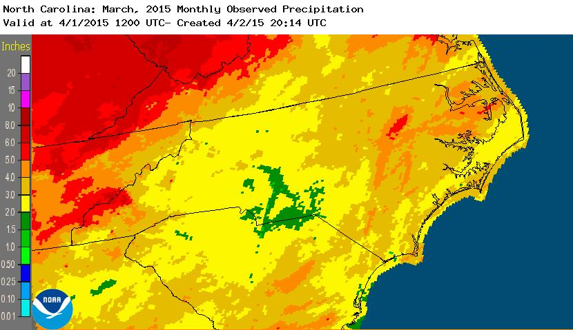 rainfall March 2015 NC