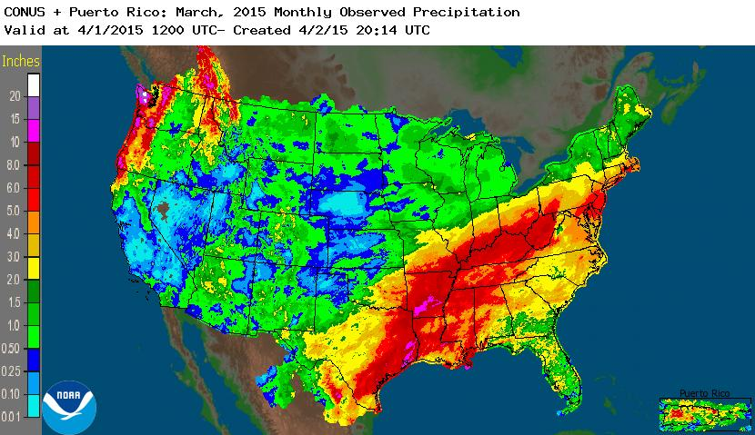rainfall March 2015 nation