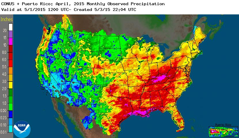 rainfall April 2015 nationwide