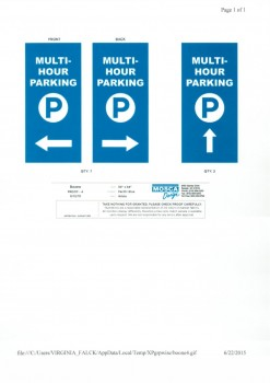 mock-up of the multi-hour parking banners that will be installed the beginning of July.