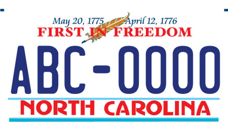 sample of new NC license plate