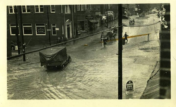 75 Years Apart – 1940s Flood Anniversary Noted, Downtown Boone Aug 1940/Downtown Boone Aug 2015