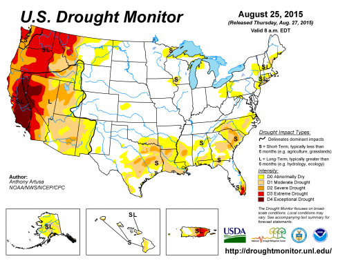 US Drought Monitor Aug 25,2015