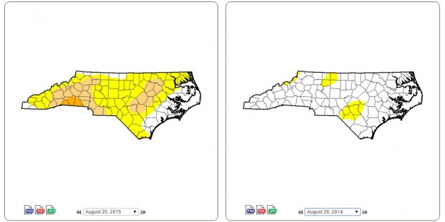 drought comparison Aug 25, 2015- Aug 26, 2014