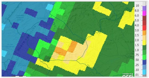 Rainfall Saturday Sept 26, 2015