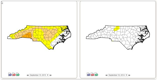 drought comparison Sept 15 2015 to Sept 16 2014