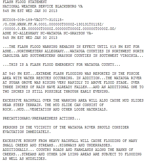 Flash Flood Emergency Jan 30, 2013