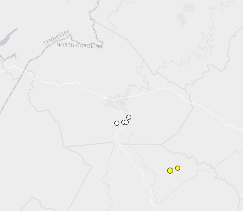 earthquakes Jan 1 2011 - Dec 16 2014 Watauga_Caldwell