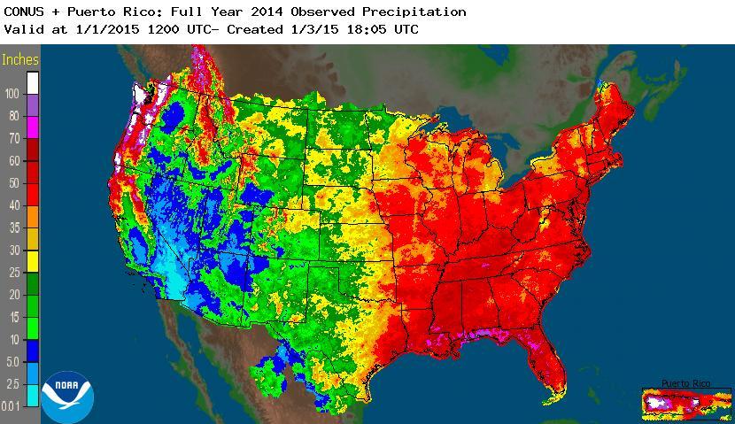 2014 Full Year Untied States precipitation