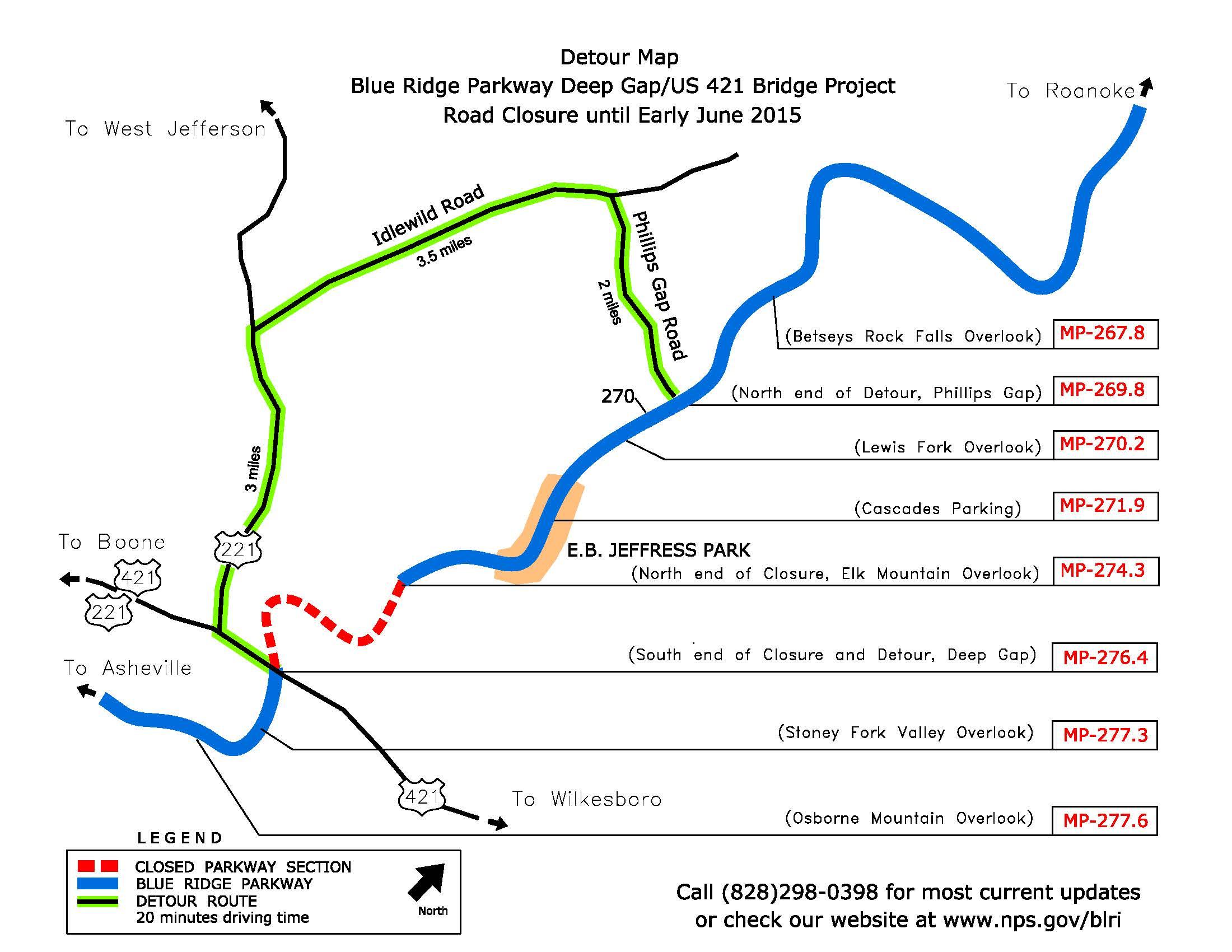 blue ridge parkway detour-map