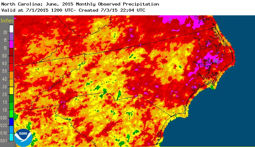 North Carolina rainfall June 2015