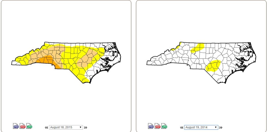 drought comparison Aug 18, 2015- Aug 19, 2014