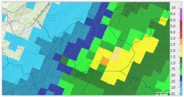 Rainfall Sunday Sept 27, 2015