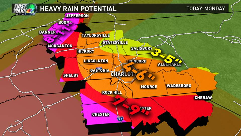 WCNC rainfall projections Friday afternoon
